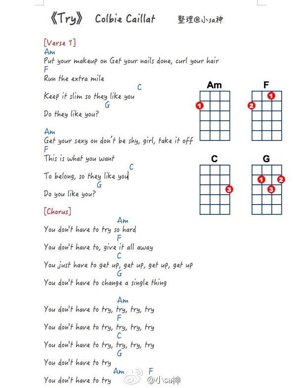 小sa神sasa《try》尤克里里弹唱教学ukulele谱(colbie