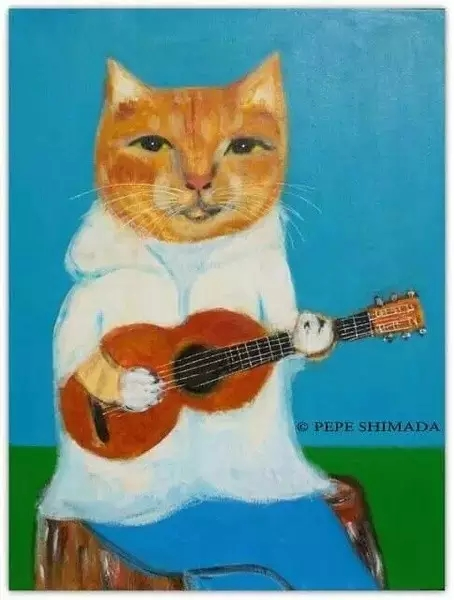 猫neko|尤克里里ukulele曲谱教学插画(pepe shimada)桃子&鱼仔图片