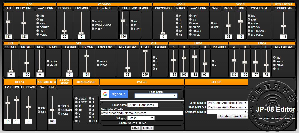可使用在Roland Boutique(精品)合成器的网页MIDI编辑器