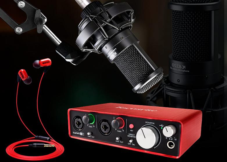 富克斯特2i2声卡搭配得胜PC-K220麦克风 网K直播套装