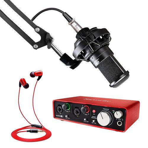网络主播直播设备 富克斯特2i2声卡搭配得胜PC-K220麦克风 演绎视频