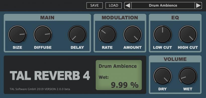 福利:TAL-Reverb-4 v2 Beta 免费板式混响插件